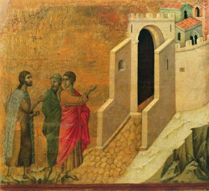 The Road to Emmaus. Duccio. c. 1308
